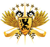 Lion Shield. Lion Heraldry Shield with dragons and wings Royalty Free Stock Images