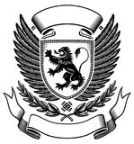 Lion shield Insignia. Lion shield B&W Insignia with Wings and Stripe Royalty Free Stock Image