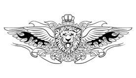 Lion Shield Insignia de rugido con alas ilustración del vector