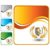 Lion shield on orange wave background Royalty Free Stock Images