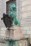 Lion with a shield. At the residence of the Bavarian dukes. Munich. Bavaria. Germany Stock Photos