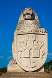 Lion with Shield Statue. Statue of lion with shield at the entrance to Tsarevets Fortress in Veliko Turnovo, Bulgaria Stock Photos