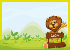 A lion and the signboard Royalty Free Stock Images