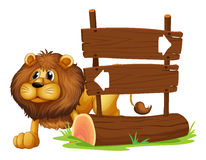 A lion and the signboard Stock Photos