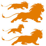 Lion silhoettes. Vector illustration of varios lion silhoettes Stock Image