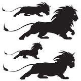 Lion silhoettes. Vector illustration of varios lion silhoettes Royalty Free Stock Photos