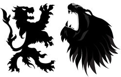 Lion silhoutte. Lion symbol in white background Royalty Free Stock Photos