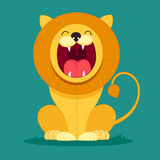 Lion sits and snarls. Cartoon lion sits and snarls, character for kids, funny Stock Photography