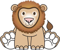 Lion sitting down. Cute toy lion sitting down vector illustration