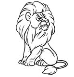 Lion sitting line Royalty Free Stock Photography