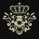 Lion skull. Heraldic emblem. Royalty Free Stock Image