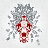 Lion Skull Vintage Aged Plumage Royalty-vrije Stock Afbeeldingen