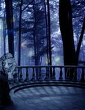 Lion Sleeps Tonight. A lion station on the edge of a balcony overlooking misty woods Royalty Free Stock Photo