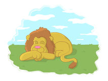 The Lion Sleeps Tonight. Illustration of a lion sleeping in a meadow Stock Images