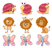 A lion, a snail and a butterfly Stock Image