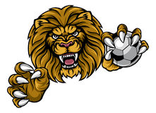 Lion Soccer Ball Sports Mascot Arkivbild