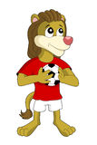 Lion soccer player cartoon Stock Images