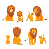 Lion and son family vector illustration. Happy Fathers Day. Cartoon safari postcard. Lion and son african amimal family illustration. Happy Fathers Day. Cartoon Royalty Free Stock Image