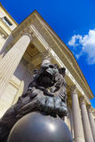 Lion at Spanish Congress of Deputies in Madrid Stock Photos