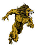 Lion sports mascot running. A lion man character or sports mascot charging, sprinting or running Stock Image