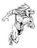 Lion sports mascot running. A lion man character or sports mascot charging, sprinting or running Stock Photos
