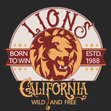 Lion sports tee graphic design Royalty Free Stock Images
