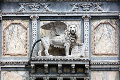Lion of St. Mark on the facade of the Scuola Grande di San Marco Royalty Free Stock Photography