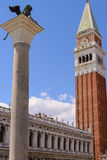 Lion of St Mark and St Mark's Campanile is the bell tower of St Stock Photo