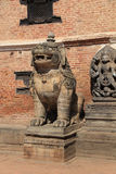 Lion standing guard in Durbar Square Royalty Free Stock Photo