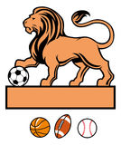 Lion standing with various of sport ball Royalty Free Stock Image