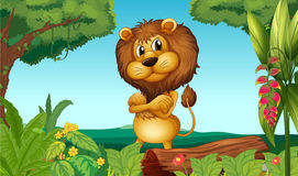 A lion standing in the woods. Illustration of a lion standing in the woods Stock Photography