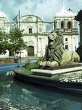 Lion state  fountain by statue Maximo Jerez Cathedral of Leon Ni Royalty Free Stock Photo