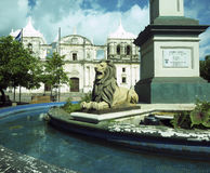 Lion state  fountain by statue Maximo Jerez Cathedral of Leon Ni Stock Image