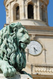 Lion Statu in Arles, France Stock Images