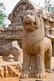 Lion Statue. At the Five Rathas site in Mahabalipuram, India Stock Photography
