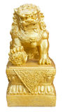 Lion Statue. Golden Lion Statue, symbol of protection & power in Oriental Asia, isolated on white background Royalty Free Stock Images