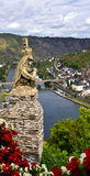 Lion statue. The lion statue at the Cochem castle with a mosel view Royalty Free Stock Photo