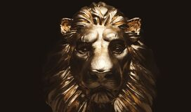 Free Lion Statue, A Gold Sculpture. Concept Of A Guard, Power And Proud Animal Royalty Free Stock Image - 186897006