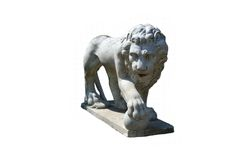 Lion Statue with Ball. Roman statue of lion with round ball. Lions are sometimes used as symbols in modern sports, such as soccer. Isolated on white with area Royalty Free Stock Images
