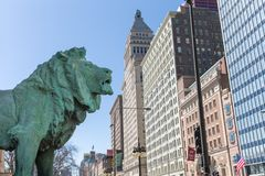 Lion Statue bronzeo ad Art Institute di Chicago immagine stock