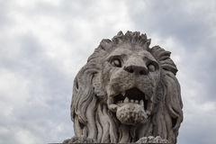 Lion statue in Budapest stock photos