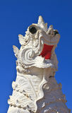 Lion statue and Buddhist Temple Stock Photos