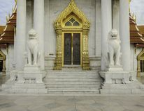 Lion statue in Buddhist temple / Lion statue Stock Photos