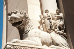 Lion statue on cathedral Stock Photos