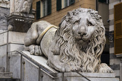 Lion statue in the cathedral of San Lorenzo in Genoa, Italy. Lion statue in the cathedral of Saint Lorenzo in Genoa, Italy Stock Image