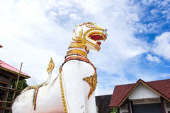 Lion statue , Chedi Buddhakhaya , is a symbol of Sangkhlaburi. Stock Images