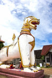 Lion statue , Chedi Buddhakhaya , is a symbol of Sangkhlaburi. Royalty Free Stock Images