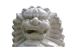Lion statue in china temple stock photos