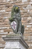 Lion statue close to Uffizi Gallery in Florence Royalty Free Stock Photo