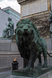 Lion statue at Congress column Brussels Stock Image